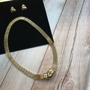 *NEW* Gold Triangle Chain/ Earrings Jewelry Set